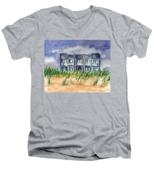 Men's V-Neck T-Shirt featuring the painting Beach House by Clara Sue Beym