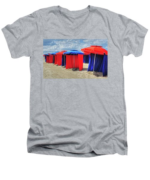Men's V-Neck T-Shirt featuring the photograph Beach Umbrellas Nice France by Dave Mills