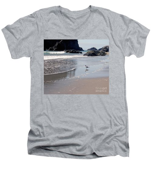 Men's V-Neck T-Shirt featuring the photograph Beachcomber by Sharon Elliott