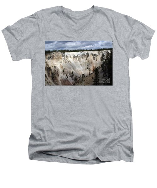 Men's V-Neck T-Shirt featuring the photograph Beautiful Lighting On The Grand Canyon In Yellowstone by Living Color Photography Lorraine Lynch