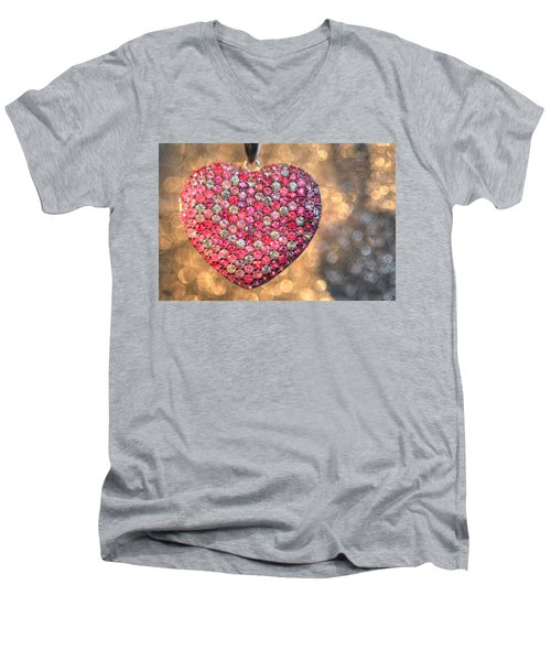 Bedazzle My Heart Men's V-Neck T-Shirt by Shelley Neff