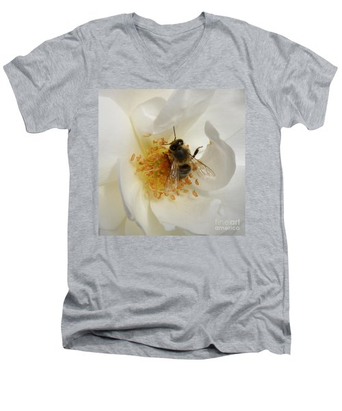 Bee In A White Rose Men's V-Neck T-Shirt by Lainie Wrightson