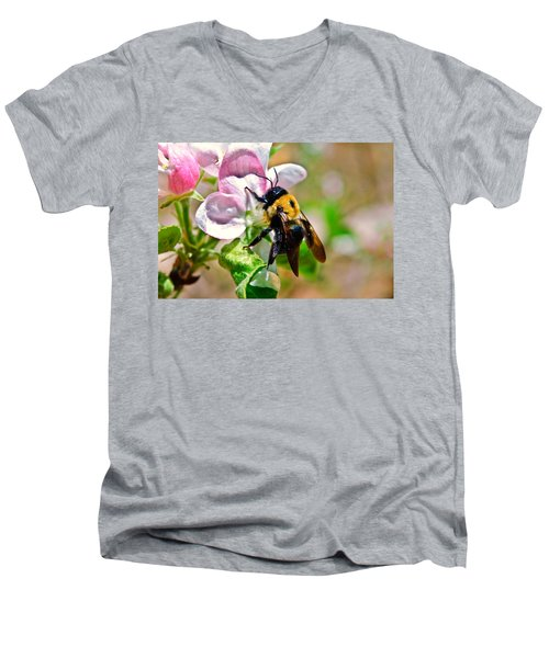 Men's V-Neck T-Shirt featuring the photograph Bee On An Apple Blossom by Susan Leggett