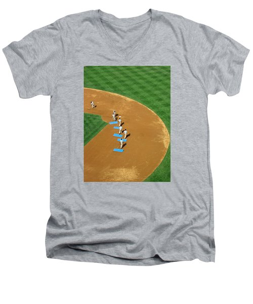 Between Innings Men's V-Neck T-Shirt by Mike Martin