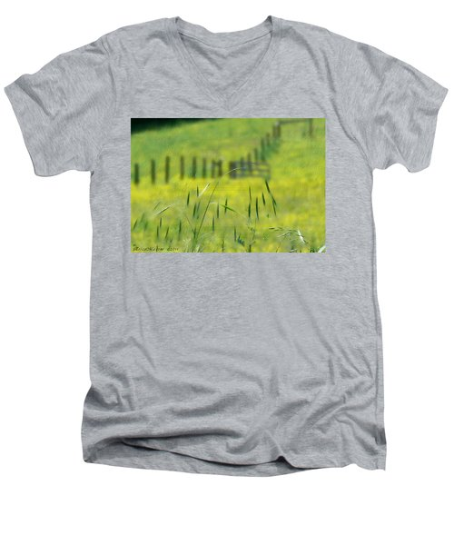 Men's V-Neck T-Shirt featuring the photograph Beyond The Weeds by EricaMaxine  Price