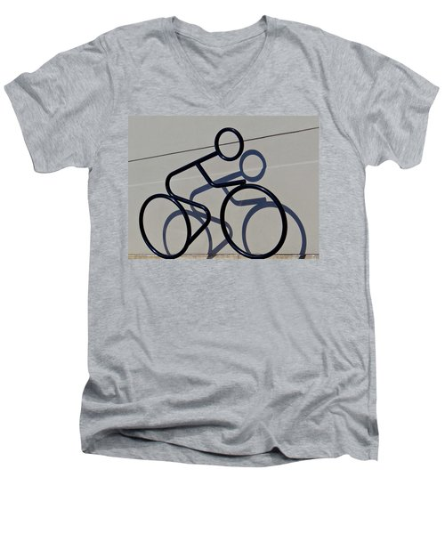 Men's V-Neck T-Shirt featuring the photograph Bicycle Shadow by Julia Wilcox