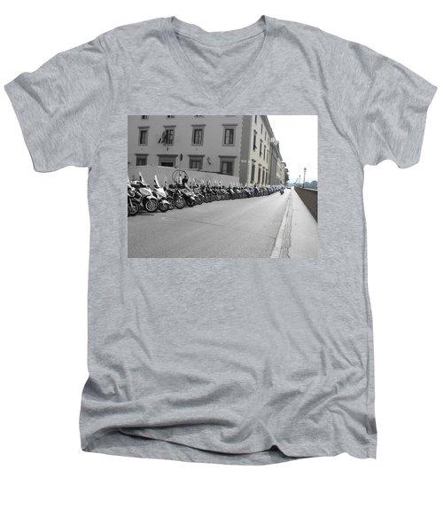 Men's V-Neck T-Shirt featuring the photograph Bikes by Laurel Best