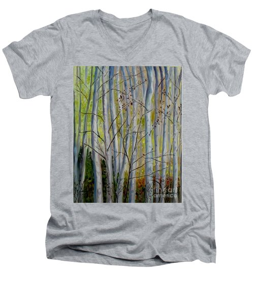 Men's V-Neck T-Shirt featuring the painting Birch Forest by Julie Brugh Riffey
