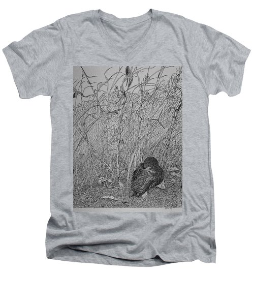 Men's V-Neck T-Shirt featuring the drawing Bird In Winter by Daniel Reed