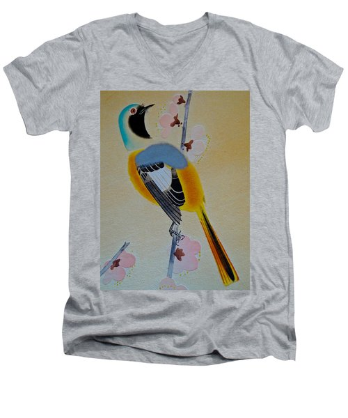 Men's V-Neck T-Shirt featuring the photograph Bird Print by Julia Wilcox