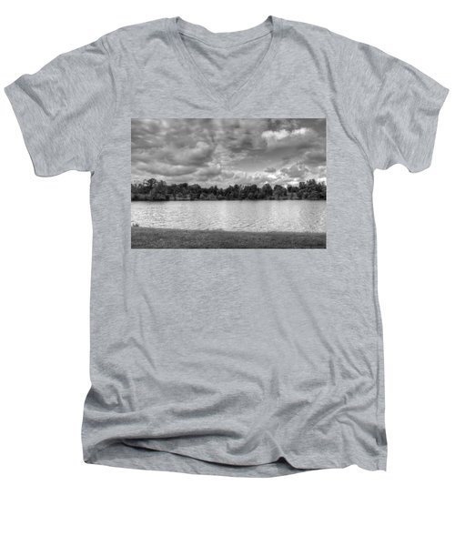 Men's V-Neck T-Shirt featuring the photograph Black And White Autumn Day by Michael Frank Jr