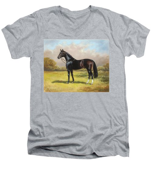 Black English Horse Men's V-Neck T-Shirt