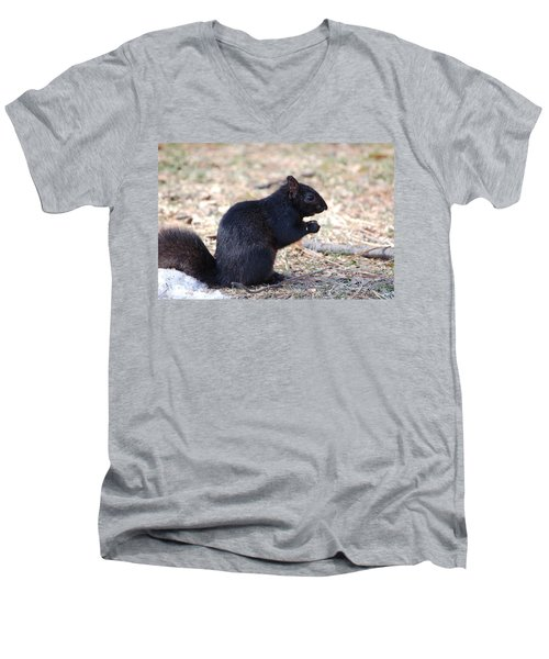 Men's V-Neck T-Shirt featuring the photograph Black Squirrel Of Central Park by Sarah McKoy