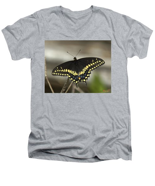 Black Swallowtail Din103 Men's V-Neck T-Shirt