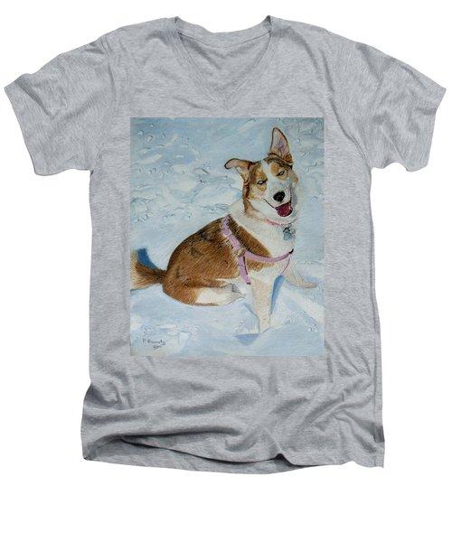 Blue - Siberian Husky Dog Painting Men's V-Neck T-Shirt