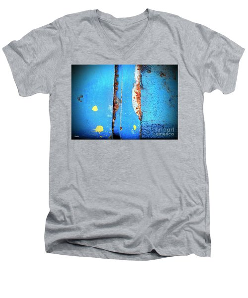 Blue Abstract Men's V-Neck T-Shirt