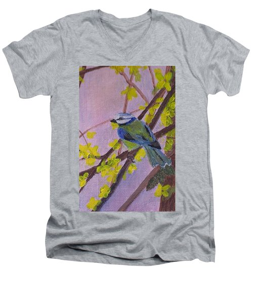 Men's V-Neck T-Shirt featuring the painting Blue Bird by Christy Saunders Church