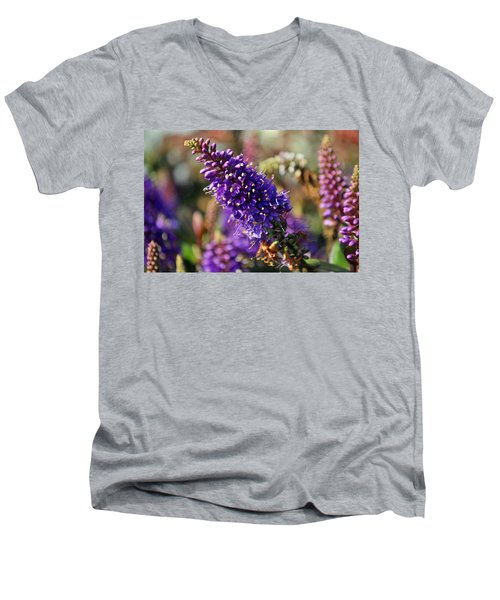 Blue Brush Bloom Men's V-Neck T-Shirt by Tikvah's Hope