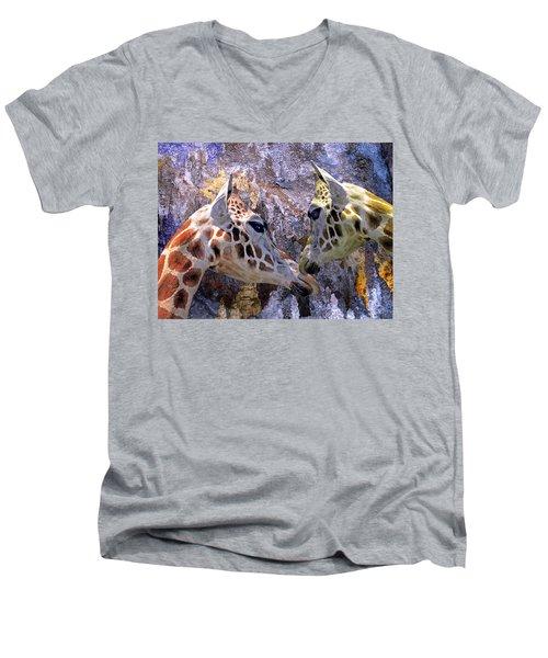Blue Cave Giraffes Men's V-Neck T-Shirt