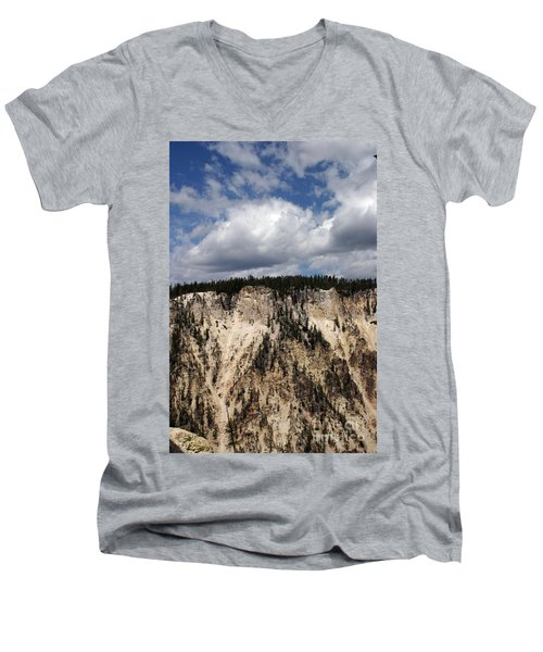 Men's V-Neck T-Shirt featuring the photograph Blue Skies And Grand Canyon In Yellowstone by Living Color Photography Lorraine Lynch