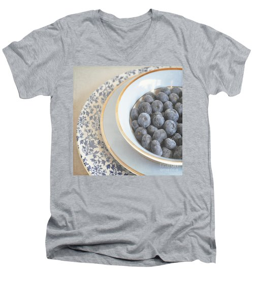 Blueberries In Blue And White China Bowl Men's V-Neck T-Shirt by Lyn Randle