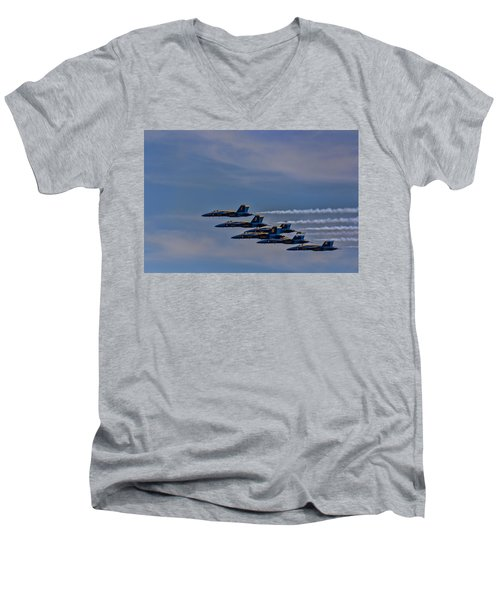 Men's V-Neck T-Shirt featuring the photograph Blues by David Gleeson