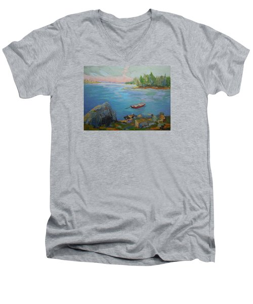 Men's V-Neck T-Shirt featuring the painting Boat And Bay by Francine Frank