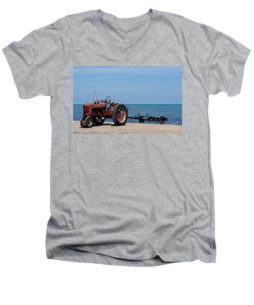 Men's V-Neck T-Shirt featuring the photograph Boat Trailer by Barbara McMahon
