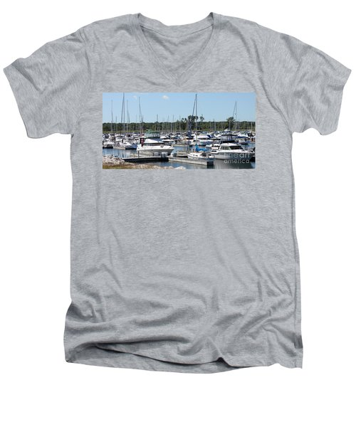 Men's V-Neck T-Shirt featuring the photograph Boats At Winthrop Harbor by Debbie Hart