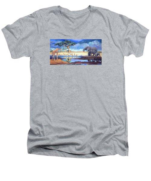 Botswana Watering Hole Men's V-Neck T-Shirt