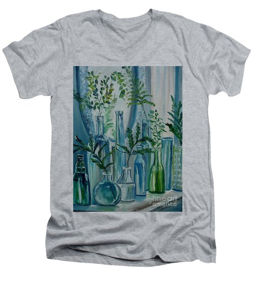 Men's V-Neck T-Shirt featuring the painting Bottle Brigade by Julie Brugh Riffey