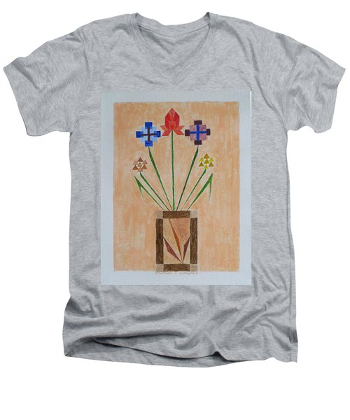 Men's V-Neck T-Shirt featuring the painting Bouquet by Sonali Gangane