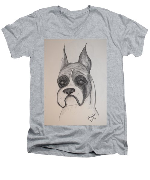 Men's V-Neck T-Shirt featuring the drawing Boxer by Maria Urso