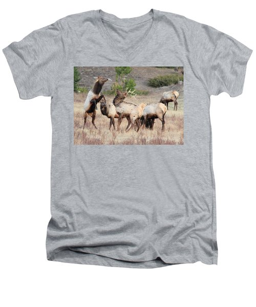 Men's V-Neck T-Shirt featuring the photograph Boxing Match by Shane Bechler