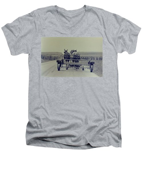 Boy Heads To Work Men's V-Neck T-Shirt by Mike Martin