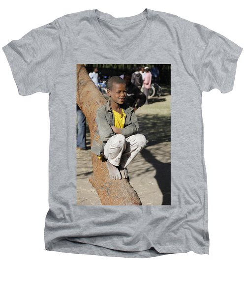 Boy In Zen Thought Men's V-Neck T-Shirt