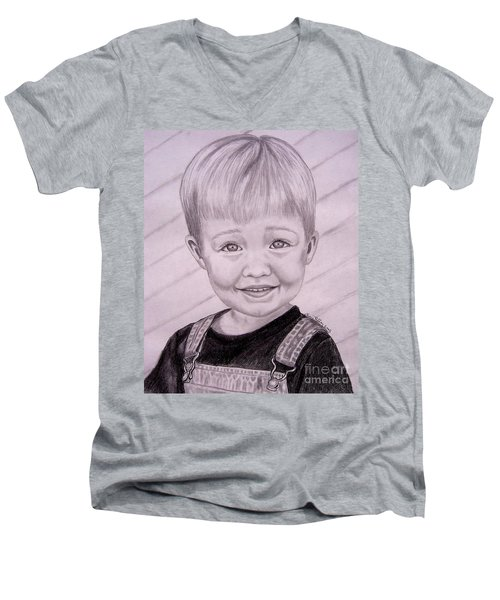 Men's V-Neck T-Shirt featuring the drawing Brady by Julie Brugh Riffey