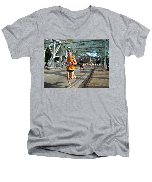 Men's V-Neck T-Shirt featuring the photograph Bridge Runner by Alice Gipson