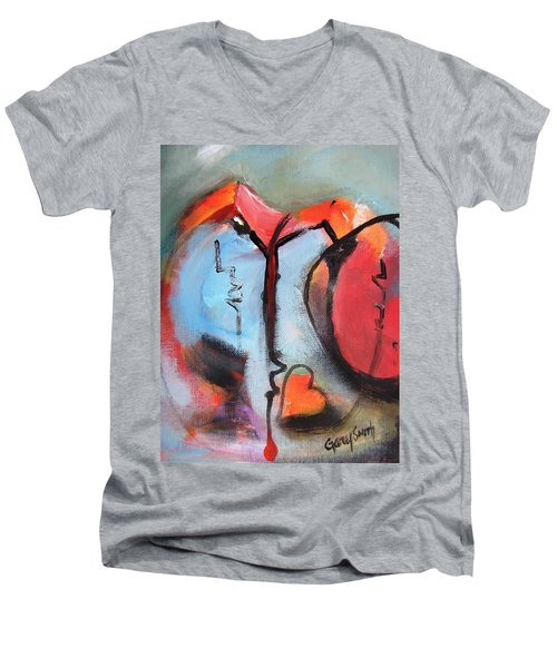 Broken And Blue Heart Men's V-Neck T-Shirt by Gary Smith