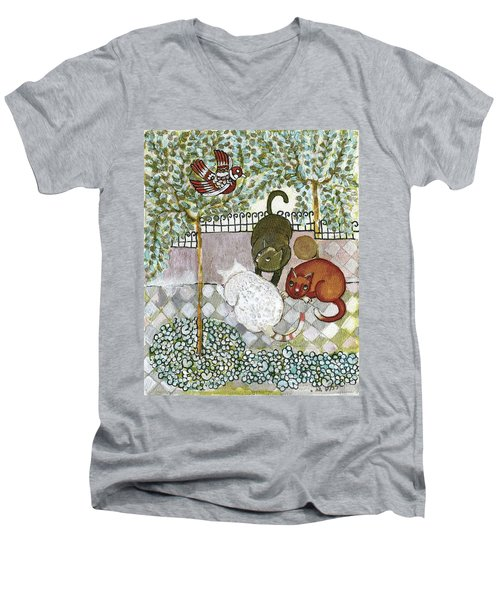 Brown And White Alley Cats Consider Catching A Bird In The Green Garden Men's V-Neck T-Shirt by Rachel Hershkovitz