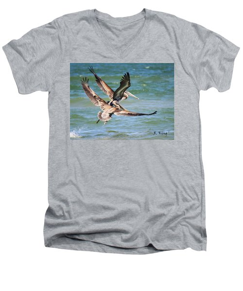 Brown Pelicans Taking Flight Men's V-Neck T-Shirt