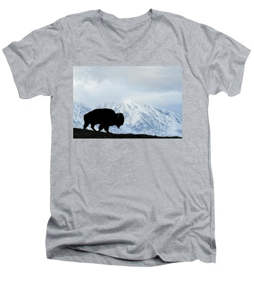 Men's V-Neck T-Shirt featuring the photograph Buffalo Suvived Another Yellowstone Winter by Dan Friend