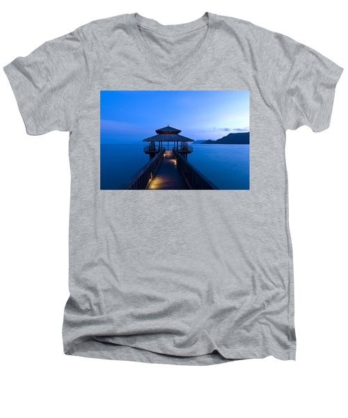 Building At The End Of A Jetty During Twilight Men's V-Neck T-Shirt