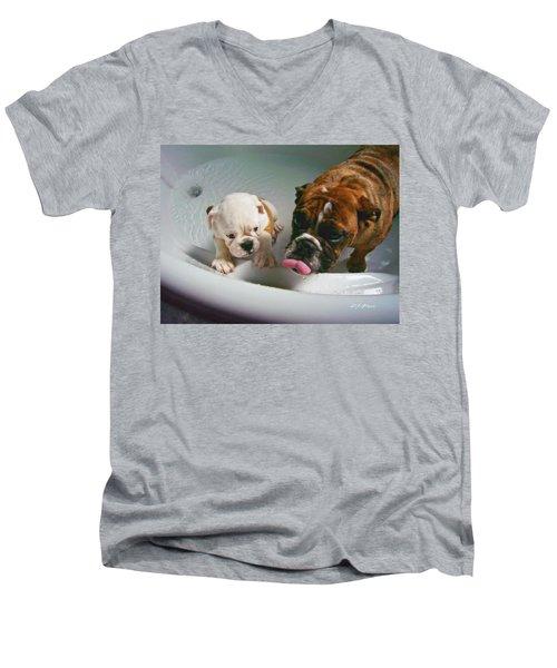 Bulldog Bath Time II Men's V-Neck T-Shirt by Jeanette C Landstrom