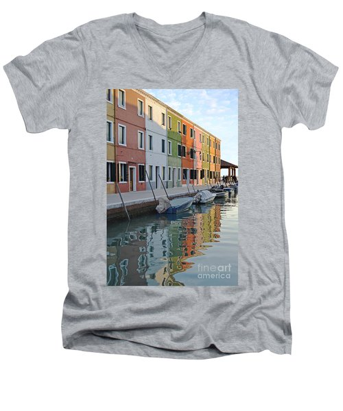 Men's V-Neck T-Shirt featuring the photograph Burano Canal by Rebecca Margraf