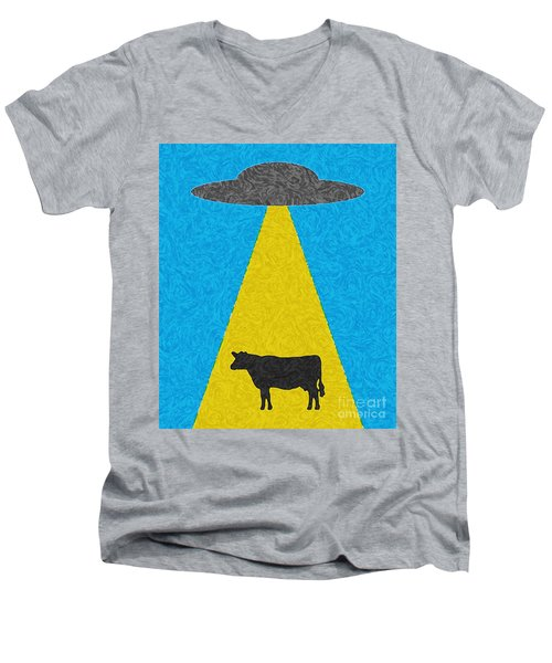 Burger To Go Men's V-Neck T-Shirt by Tony Cooper