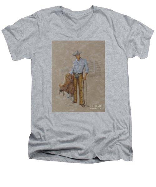 Busted Bronc Rider Men's V-Neck T-Shirt