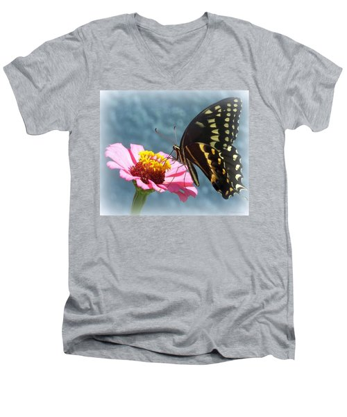 Men's V-Neck T-Shirt featuring the photograph Butterfly by Cynthia Amaral