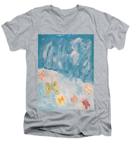 Men's V-Neck T-Shirt featuring the painting Butterfly Flight by Sonali Gangane