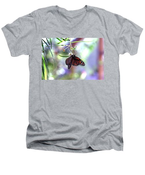 Men's V-Neck T-Shirt featuring the photograph Butterfly Meet-up by Tam Ryan